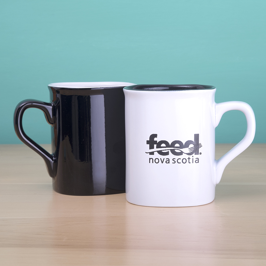 Black and white ceramic mugs with Feed Nova Scotia Logo