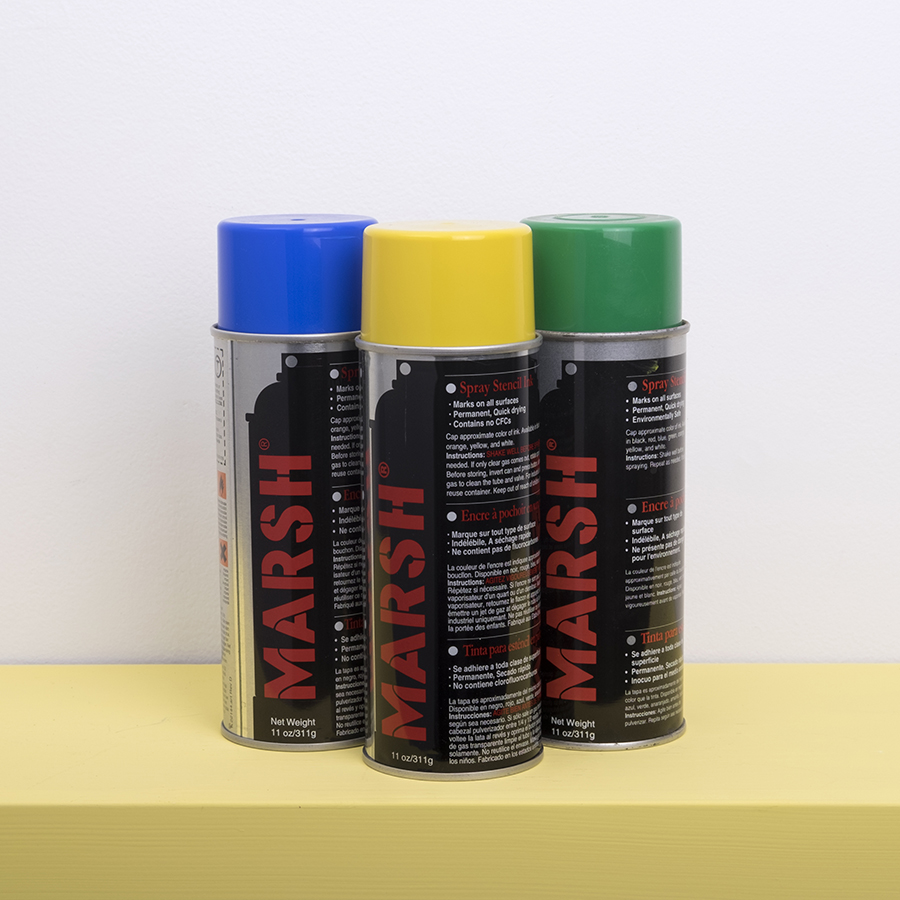 Spray Paint Cans in Green blue and yellow